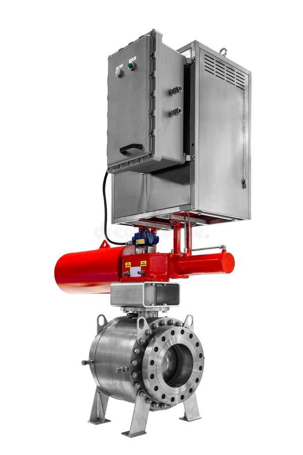 Robinet à tournant sphérique télécommandé automatique avec le verrou pour l'oléoduc industriel de gaz ou avec la haute pression i photos libres de droits