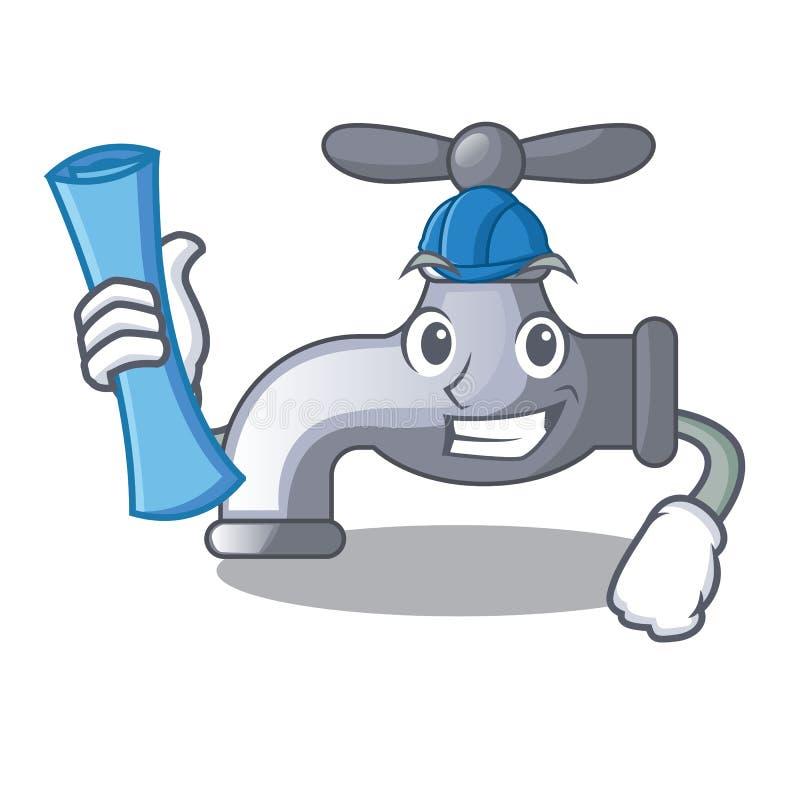 Robinet d'eau d'architecte installé dans la salle de bains de bande dessinée illustration de vecteur