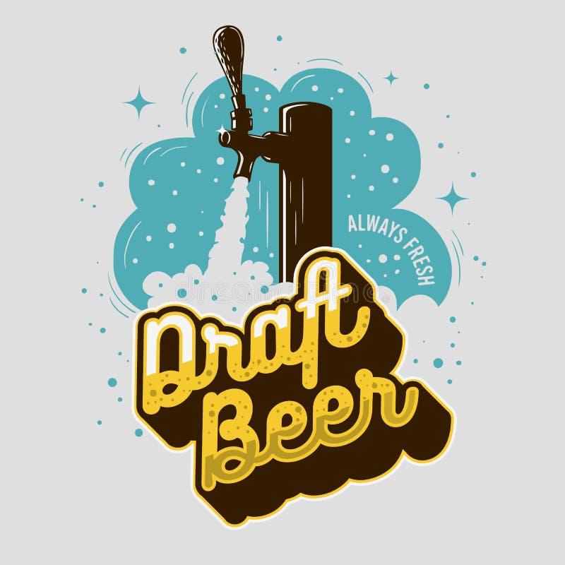 Robinet de bière pression avec la conception d'impression d'affiche de mousse pour la promotion Dessin de vecteur illustration de vecteur