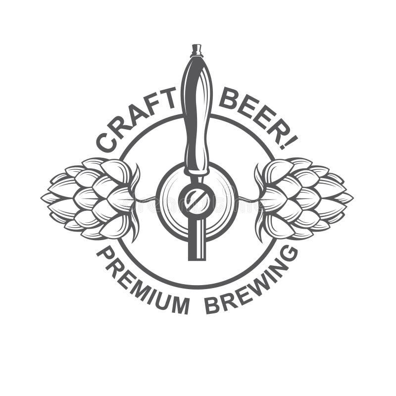 Robinet et houblon de bière illustration de vecteur
