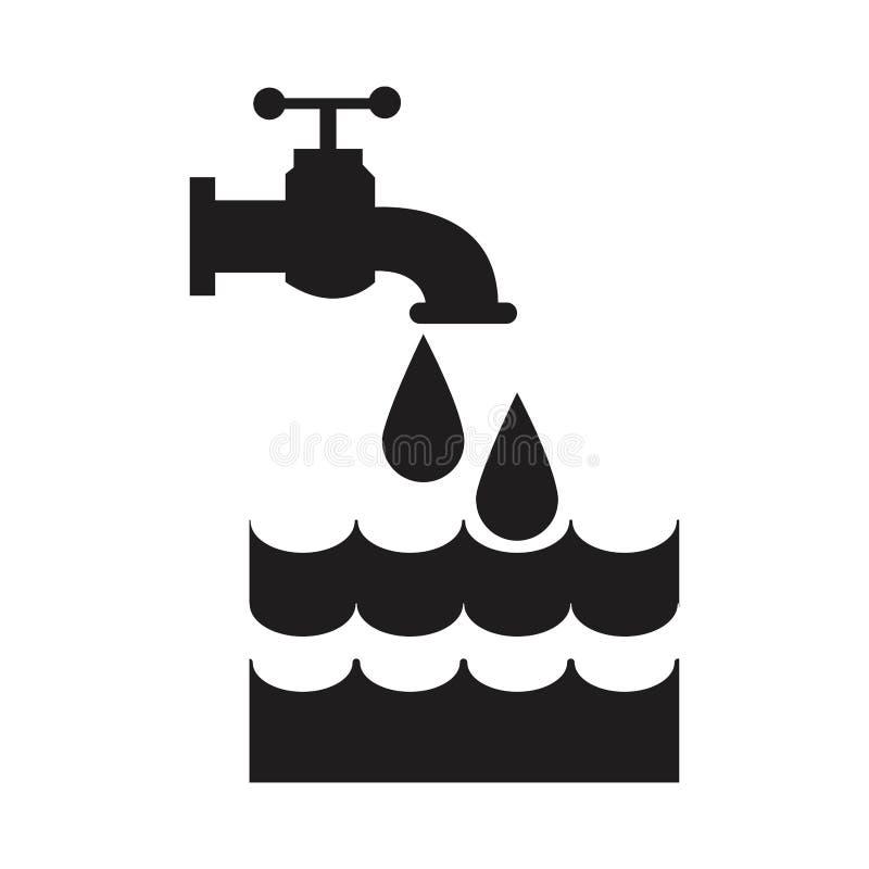 Robinet noir de maison de silhouette avec de l'eau la baisse et illustration libre de droits
