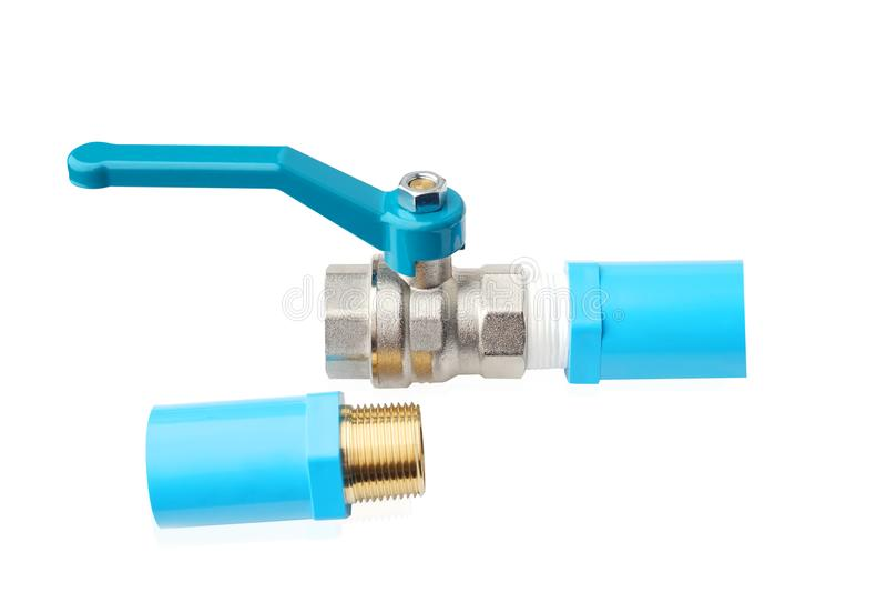Robinets à tournant sphérique, valve en acier de sphère ou robinet à tournant sphérique en laiton nickelé et p V c couplant, join photos libres de droits