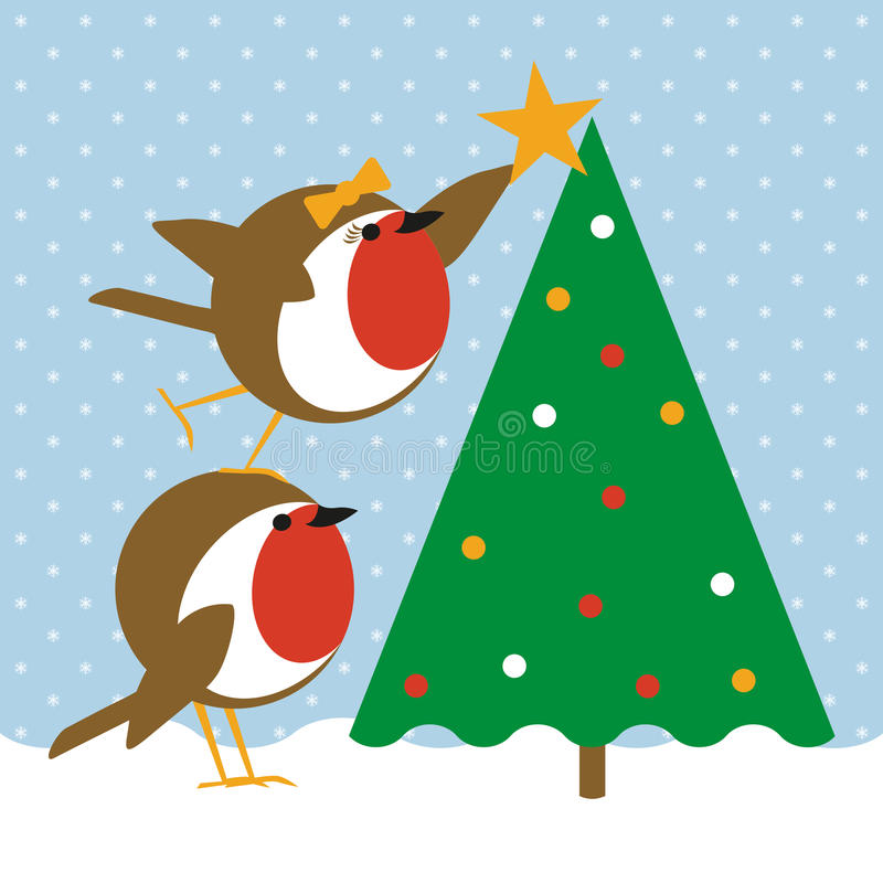 Robins christmas tree stock illustration