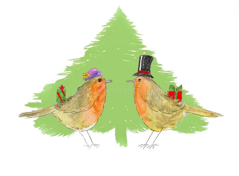 Robins en Kerstboom vector illustratie