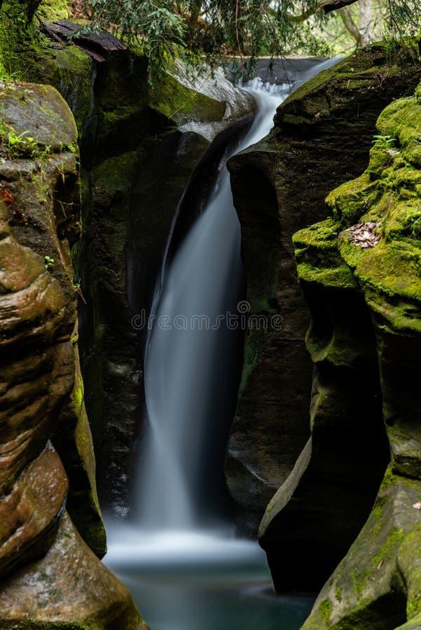 Robinson Falls - garganta & cachoeira estreitas - Wayne National Forest - Ohio imagem de stock