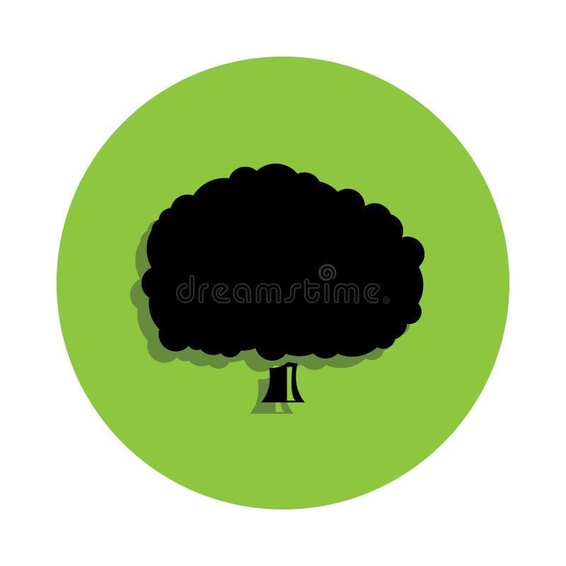 Roble del árbol en icono verde de la insignia ilustración del vector