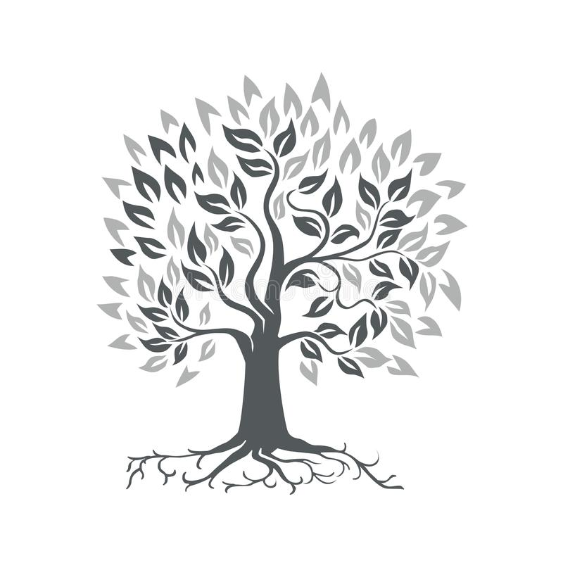Roble estilizado con las raíces retras libre illustration