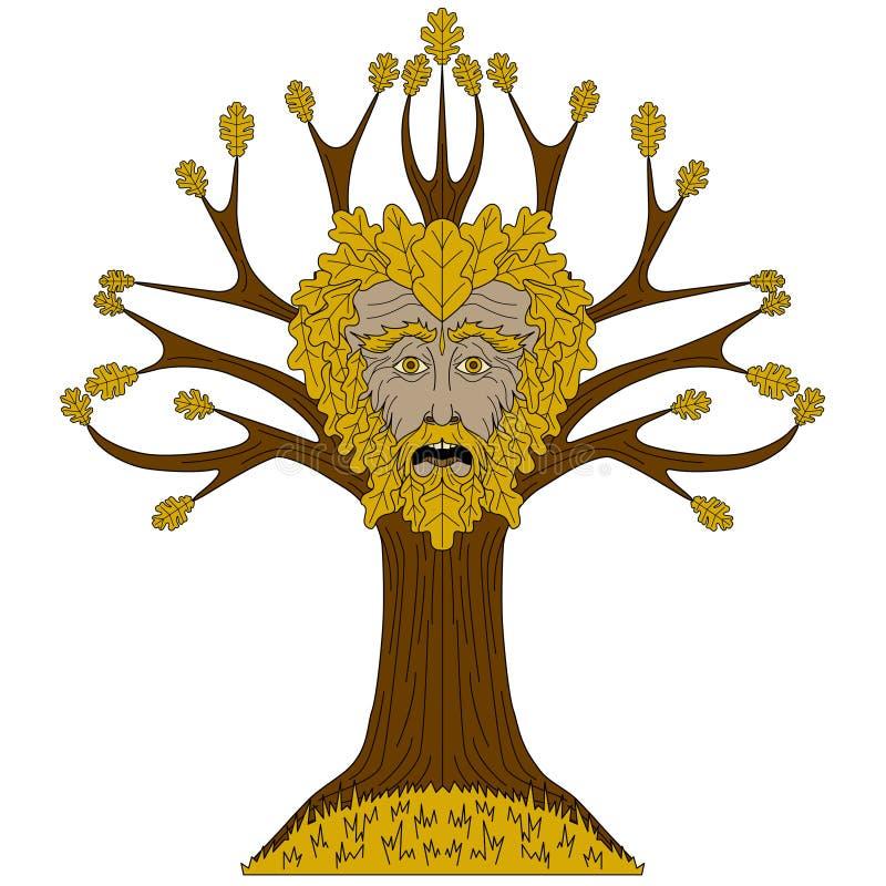 Roble Greenman en árbol ilustración del vector