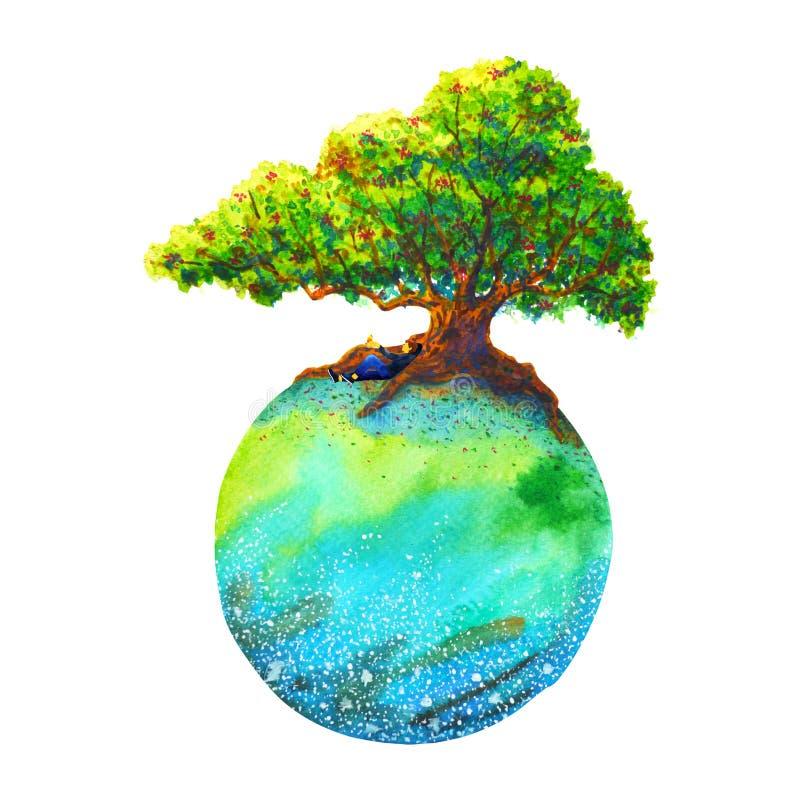Roble inferior humano en el ejemplo exhausto de la tierra de la acuarela de la pintura de la mano colorida del paisaje libre illustration