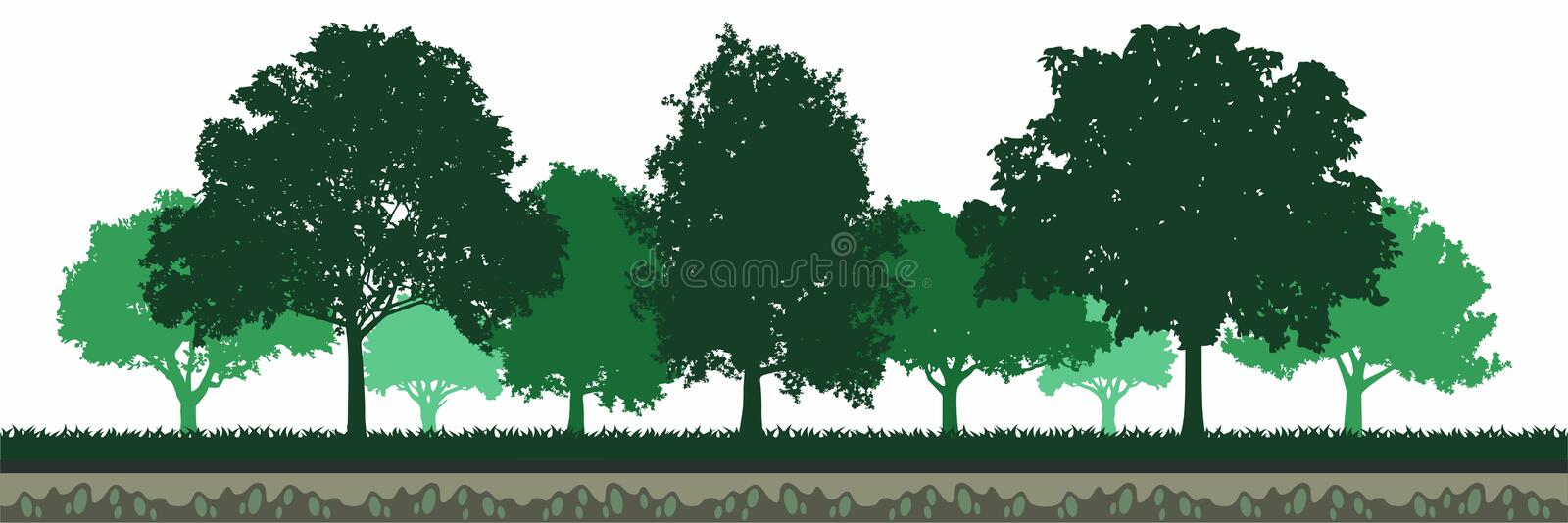 Roble verde Forest Environment ilustración del vector