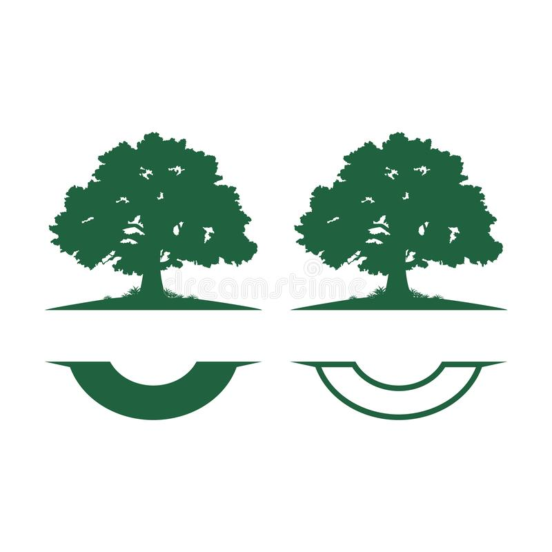 Roble verde grande Logo Template de la sombra stock de ilustración