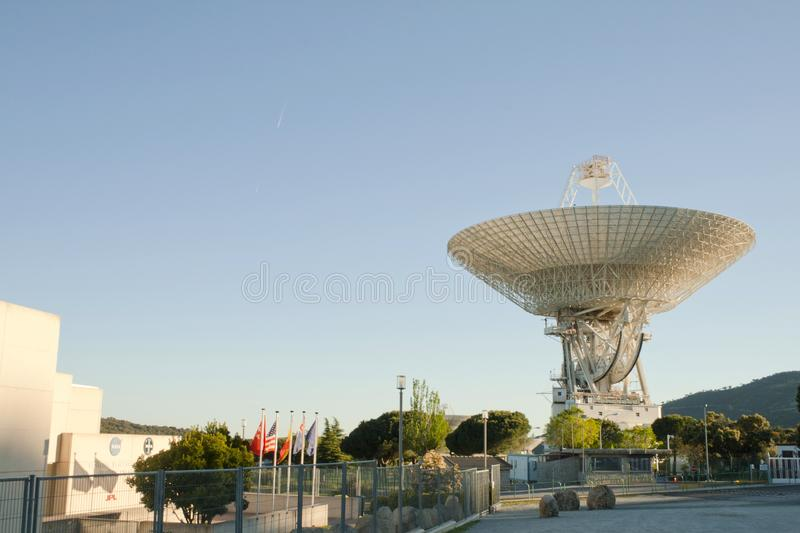 Robledo de Chavela, Spain - May 4, 2019: Afternoon scene of Madrid Deep Space comunication complex. It is part of NASA`s Deep. Space Network managed by the Jet royalty free stock images