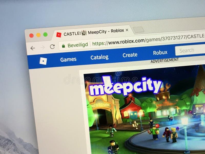 Roblox比赛MeepCity的网站 免版税库存照片