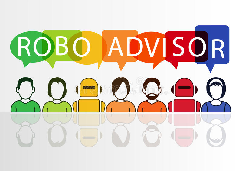 Robo-advisor concept as illustration with colorful icons of robots and persons.  stock illustration