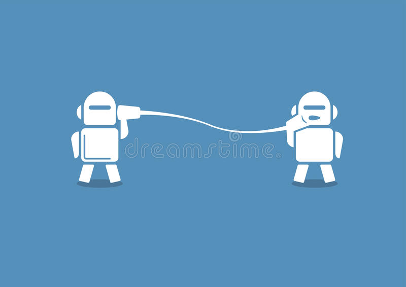 Robo advisor concept as illustration. Two robots communicating stock illustration
