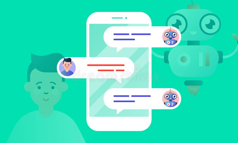 Robo Advisor helps his client, chatting with him via the smartphone. Chatbot concept. Colorful flat vector illustration for web and printing on light green royalty free illustration