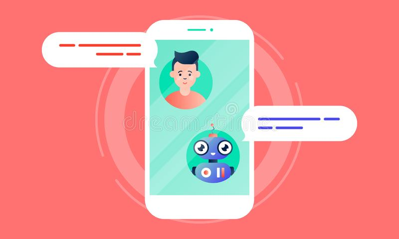Robo Advisor helps his client, chatting with him via the smartphone. Colorful flat vector illustration for web and printing on pink background vector illustration