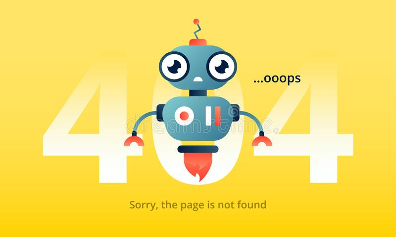 Robo advisor informs amazedly about 404 error. Colorful vector illustration for web stock illustration
