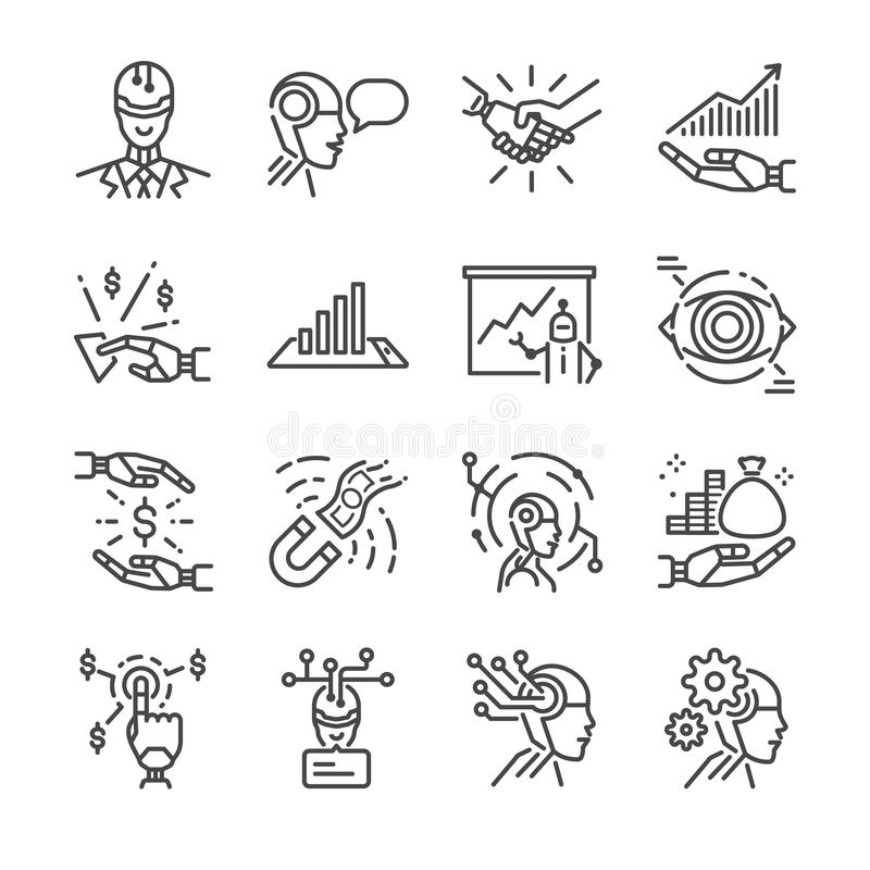 Robo advisor line icon set. Included the icons as robot, ai, cyborg, fintech, analyze, financial and more. Line icon vector: Robo advisor line icon set vector illustration