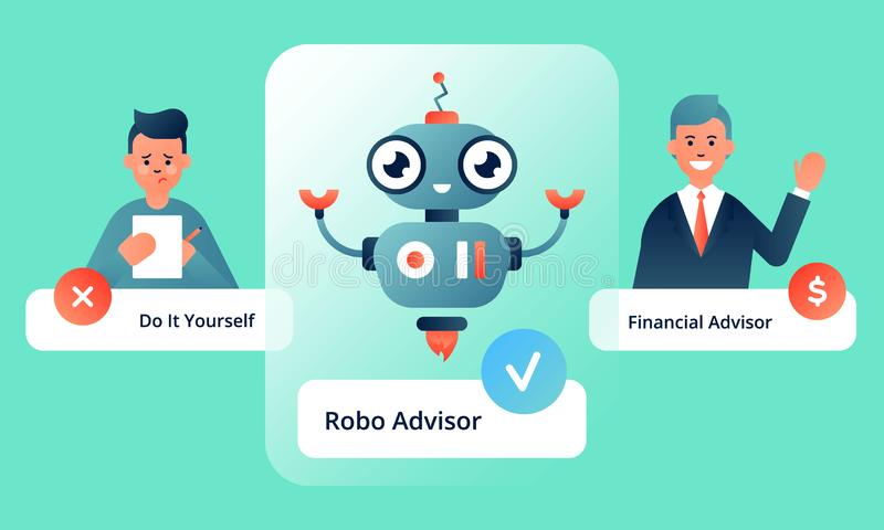 Robo advisor s advantages over doing financial transactions by yourself royalty free illustration