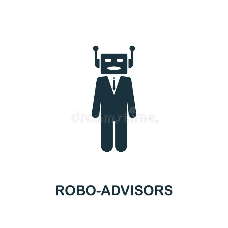 Robo-Advisors icon. Monochrome style design from fintech icon collection. UI and UX. Pixel perfect robo-advisors icon. For web des stock illustration