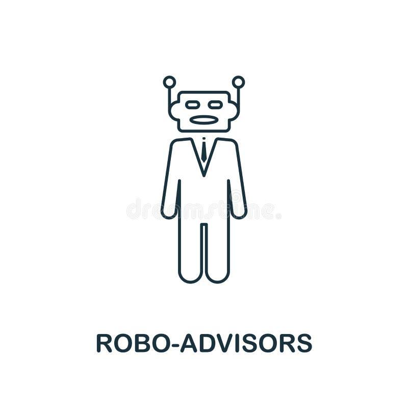 Robo-Beraterikonen-Entwurfsart D?nne Linie Entwurf von der fintech Ikonensammlung Perfekte Roboberaterikone des Pixels für vektor abbildung