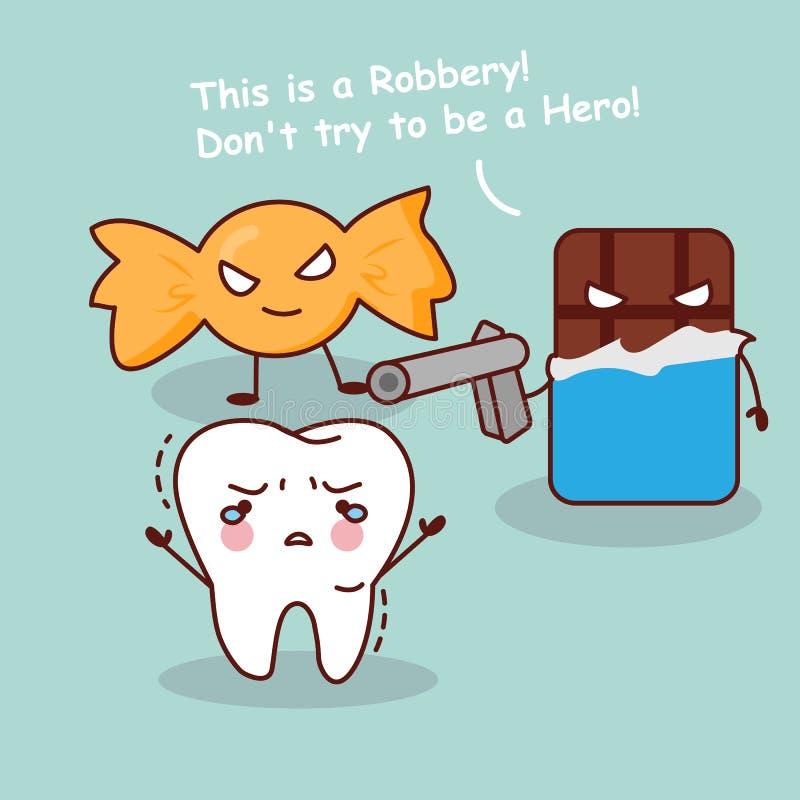 Robo de los dientes de la historieta por el postre stock de ilustración