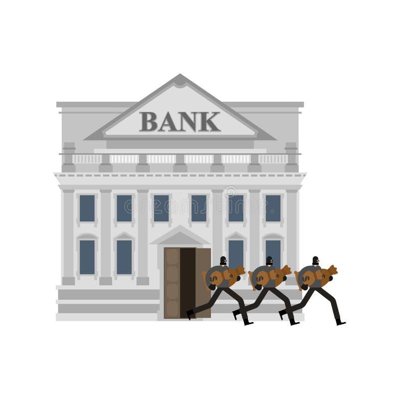 Robo de un banco Ladrón y bolso del dinero Ladrón en máscara plundere ilustración del vector
