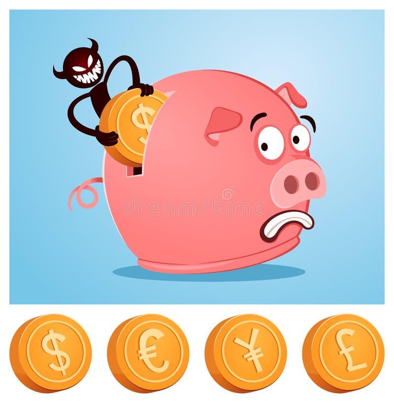 Robo del dinero del piggybank stock de ilustración