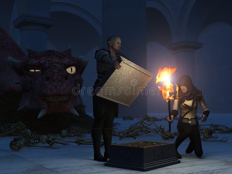 Robo del tesoro del dragón stock de ilustración