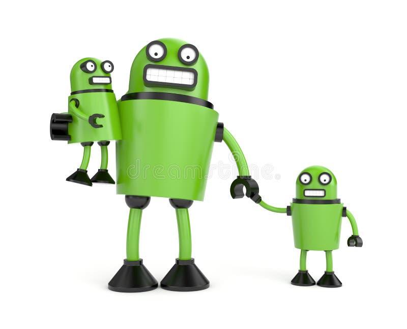 Robo familj stock illustrationer