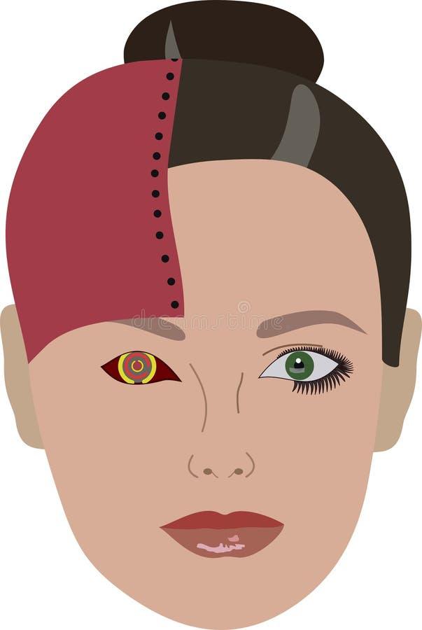 Download Robo-femme Regardant Au Présent Illustration Stock - Illustration du future, bouche: 76089842