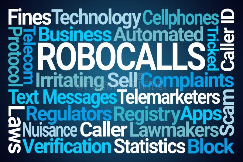 Robocalls Word Cloud. On Blue Background royalty free illustration