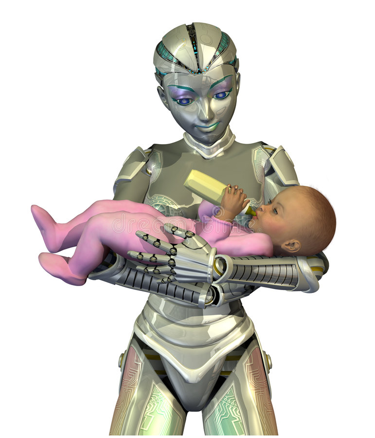RoboNanny: Die Zukunft Der Kinderbetreuung Stockbild