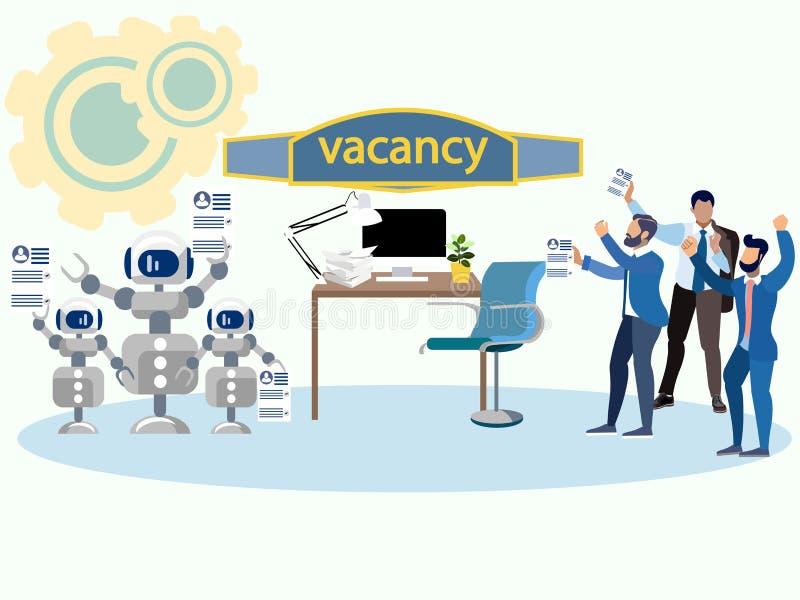Robotów i istot ludzkich żądanie pusty siedzenie Walka dla pracy W minimalisty stylu kreskówki mieszkania wektorze royalty ilustracja
