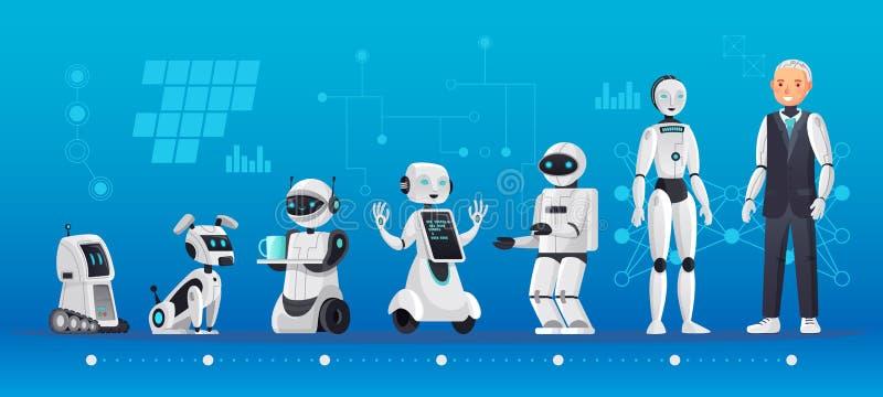 Robotów pokolenia Robotyki inżynierii ewolucja, robota ai technologia i humanoid komputerowego pokolenia kreskówki wektor, royalty ilustracja