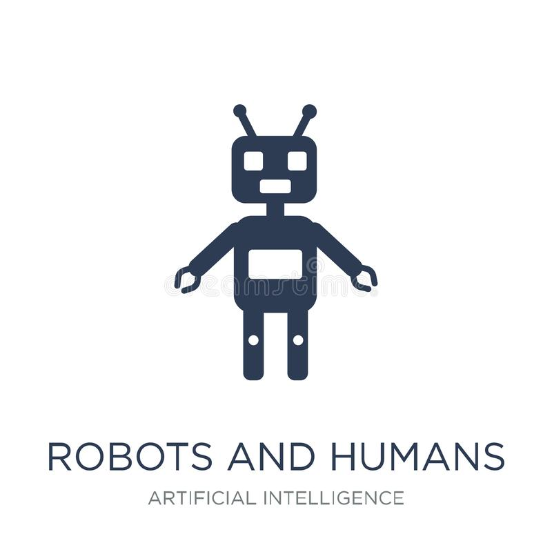Robotów i istot ludzkich ikona Modny płaski wektorowy robotów i istot ludzkich ico royalty ilustracja