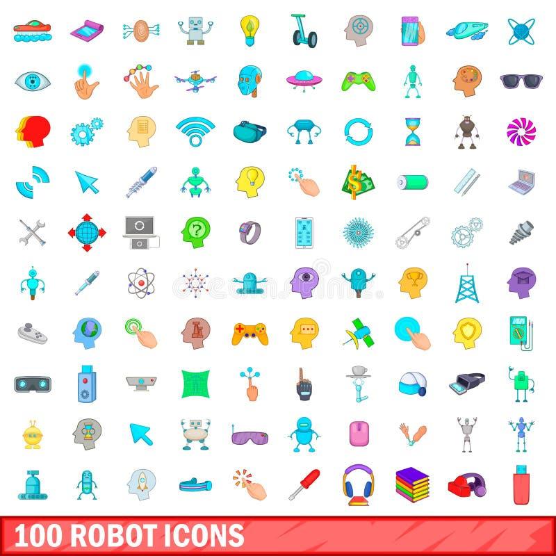 100 robotów ikon ustawiających, kreskówka styl ilustracji