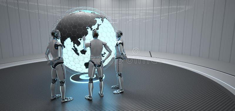 3 robot?w kula ziemska Chiny ilustracja wektor