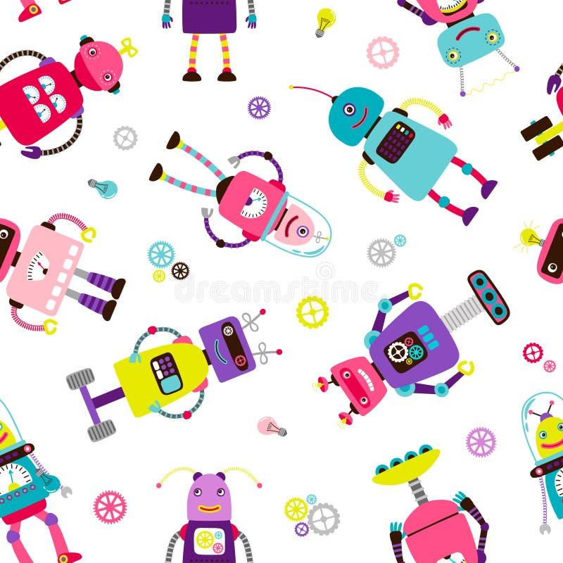 Robotów lub obcych dzieciaków wzór ilustracji