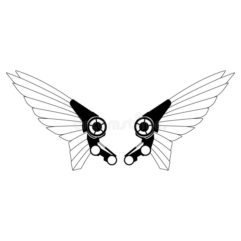 Robotów skrzydeł wektoru eps ręka rysująca, wektor, Eps, logo, ikona, crafteroks, sylwetki ilustracja dla różnego używa royalty ilustracja
