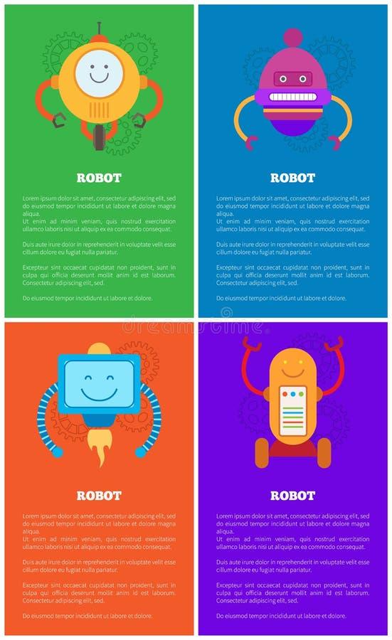 Robotów szablony, Machinalna Droids kolekcja royalty ilustracja
