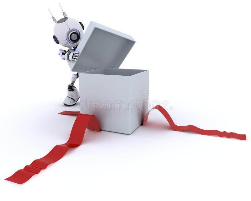 Robotöppningsgåva royaltyfri illustrationer