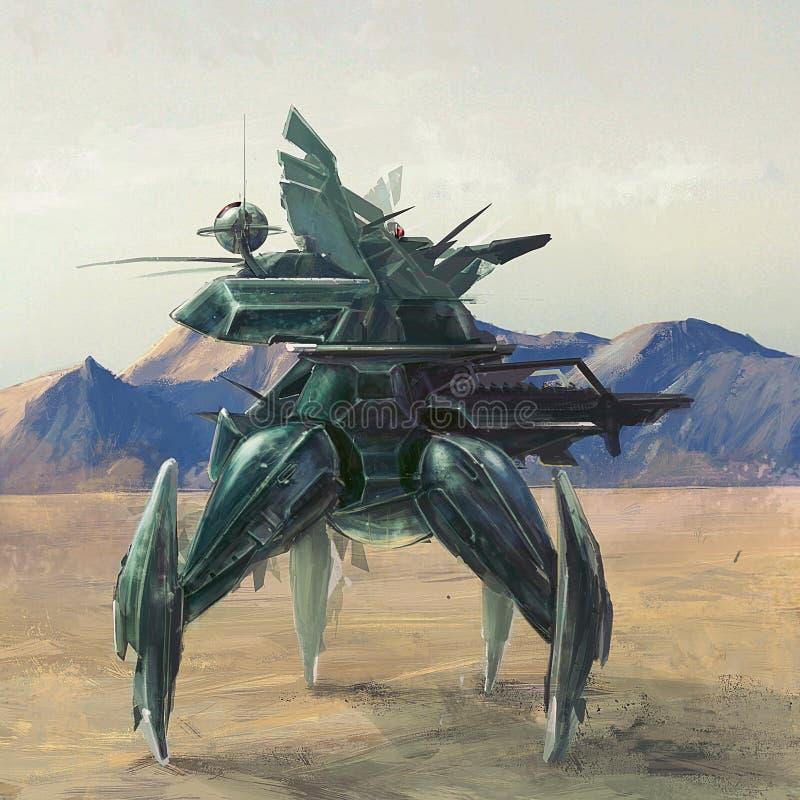 Robot à quatre jambes futuriste sur l'art apocalyptique de concept de planète de courrier perdu illustration libre de droits