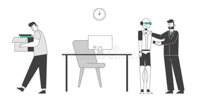 Robot è arrivato sul posto di lavoro invece che sulla persona Uomo licenziato e buttato fuori ufficio Cyborg ha cacciato l'uomo d illustrazione di stock