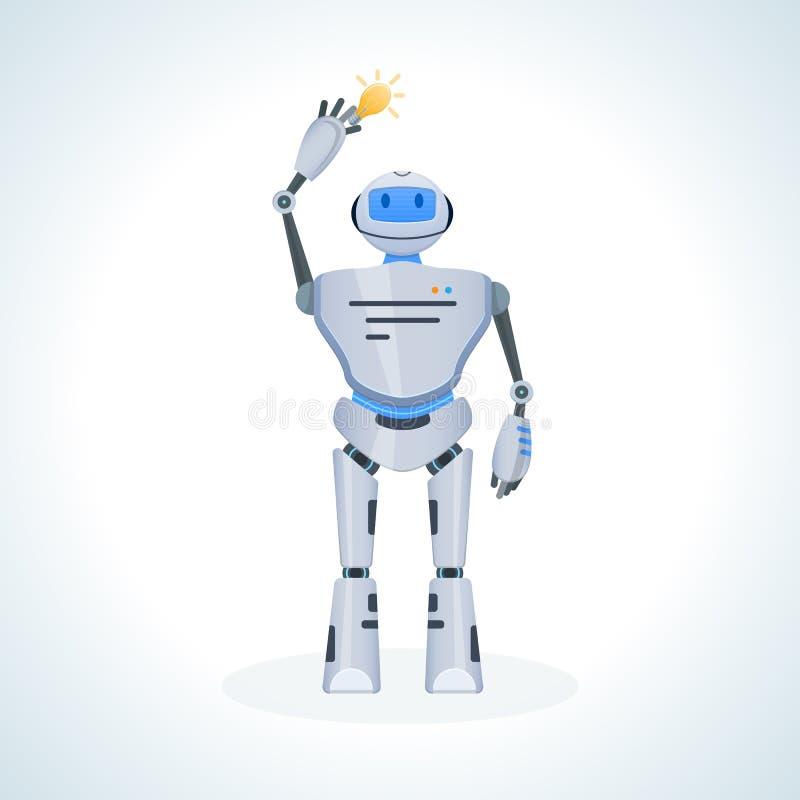 Robot électronique, bot de causerie, humanoïde Recherche pour information, perfectionnement des connaissances personnelles, éduca illustration libre de droits
