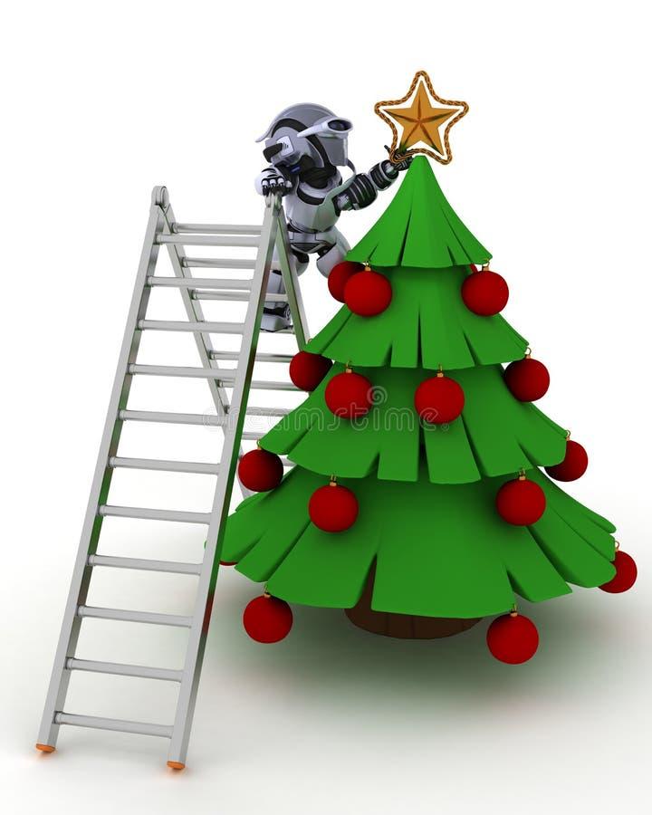 Robot équilibrant l'arbre illustration de vecteur