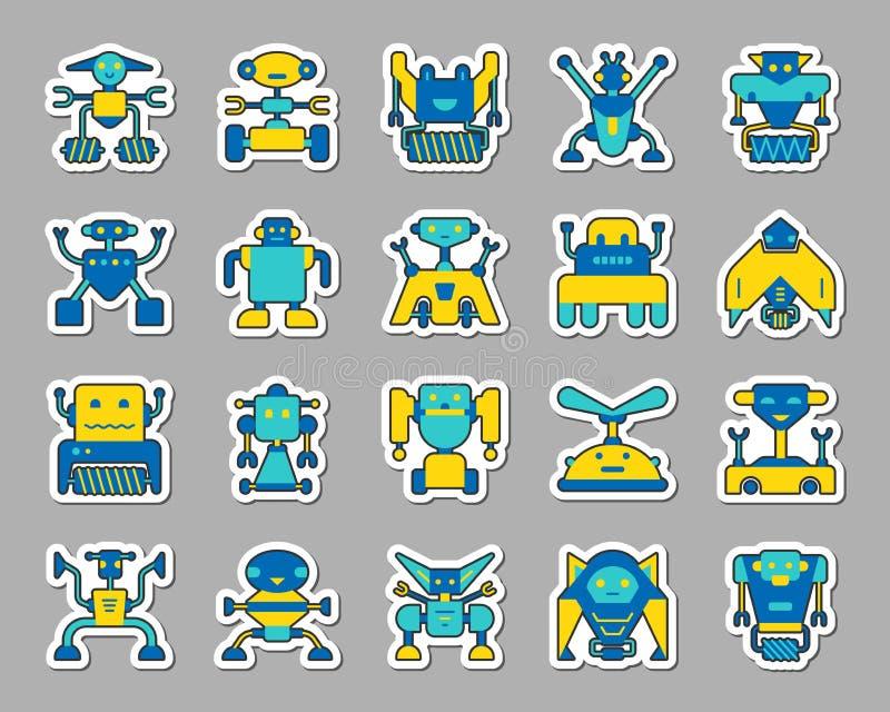 Robot łaty majcheru ikon wektoru set royalty ilustracja