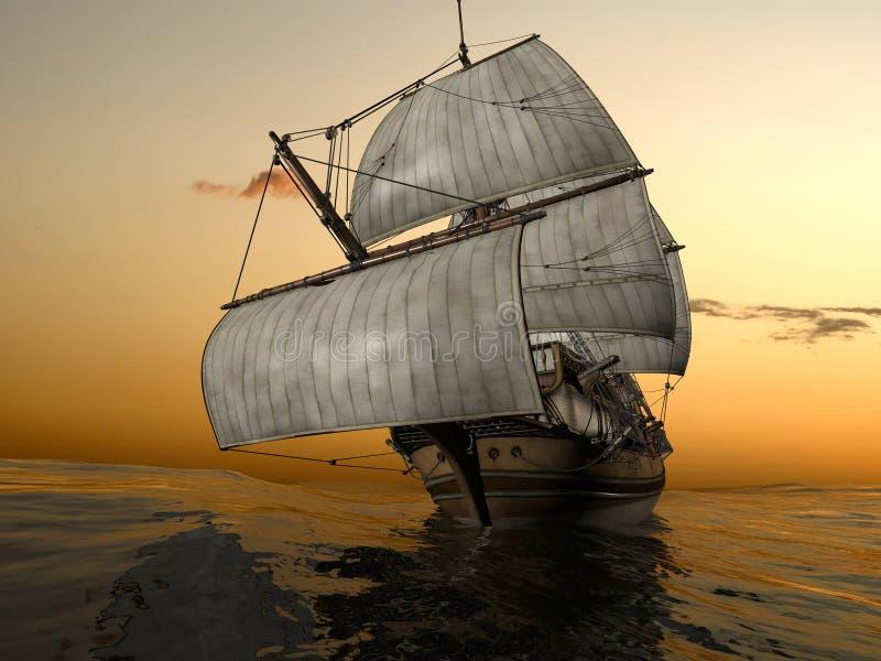 Download Old Fashioned Sailing Ship At Sea Stock Illustration - Image: 12504204