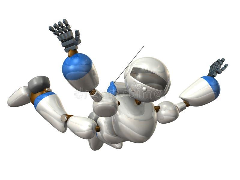 Robot aan vrije daling vector illustratie